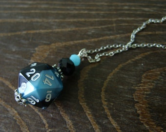 D20 dice blue black D20 dice pendant dungeons and dragons pendant dice pendant D20 pendant dice jewelry geek pathfinder D20 dice