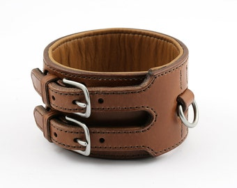 Whippet Double Buckle Padded Leather Dog Collar - size S
