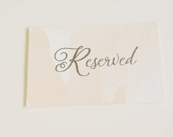 Reserved Sign, Table Sign, Table Number, Watercolor Wedding Sign, Silver Foil, Blush Wedding Sign, Peach Wedding Sign, Blush Sign