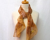 1950s / 60s Vintage Silk Chiffon Scarf / Cafe Cocoa Yellow Abstract Floral Rectangular Scarf