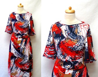1970s / 80s Vintage Belted Jersey Dress / Abstract Print Bell Sleeve Dress & Belt