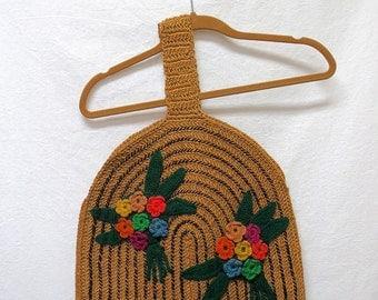 1950s / 60s Vintage Woven Knit Applique Handbag / Geometric Floral Tote Bag