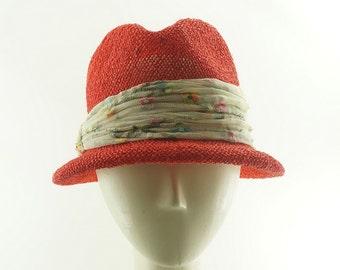 Orange Women's FEDORA / Sea Grass STRAW HAT / Handmade by Marcia Lacher Millinery