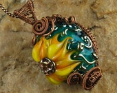 Wire Wrapped Pendant Necklace, Lampwork Necklace, Sunny SunFlower, Oxidized Copper #N540