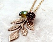 Pine Cone Necklace, Pinecone Necklace,  Leaf Necklace, Leaf Pendant, Crystal Necklace, Bridesmaid Gift, Autumn Jewelry