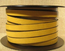 25% OFF 10mm Flat Leather - Mustard - 10F-22 - Choose Your Length