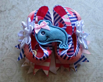 Girls Blue Whale Boutique Bow- Summer Hair Bow- Nautical Bow- Baby Bow- Toddler Bow- Ready To Ship