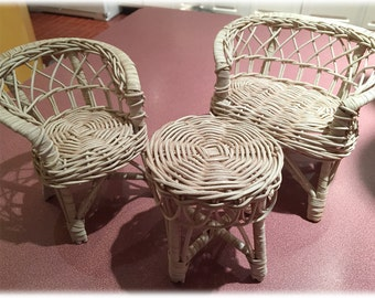 "SPECIAL PRICE Barbie Sized Wicker Furniture 3 Piece Set Loveseat Chair Table 1970s Sears Mongomery Ward 12"" Doll Boyds Bears Beanie Babies"