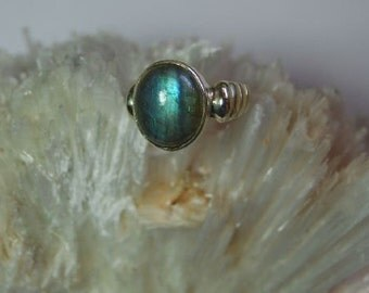 blue fire labradorite sterling silver ring size 9.5
