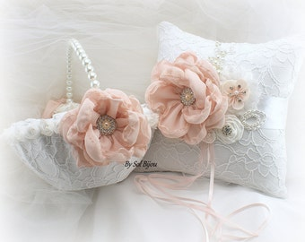 Flower Girl Basket, Wedding Ring Pillow, White, Blush, Pink, Vintage Wedding, Lace Basket, Ivory Basket, Lace Pillow, Crystals, Pearl Handle