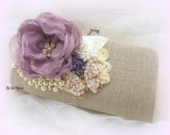 Linen Clutch, Lilac, Ivory, Gold, Shabby Chic, Vintage Wedding, Wedding Reception, Handbag, Purse, Mother of the Bride, Pearls, Butterfly