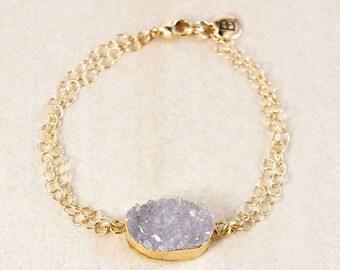 50% OFF Purple Natural Agate Druzy Bracelet – Choose Your Druzy – Boho Jewelry
