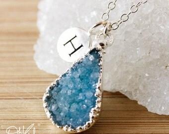 50% OFF Silver Blue Druzy Necklace - Initial Necklace - Choose Your Druzy, Multi Colour