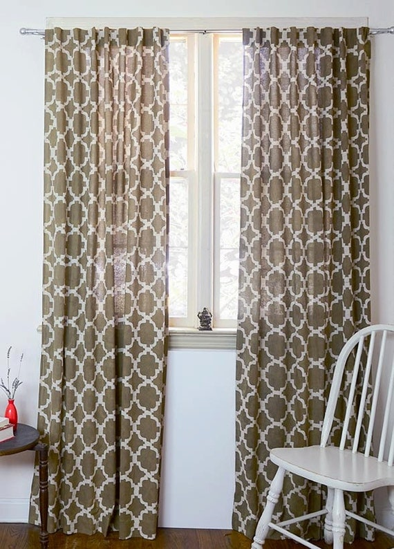 "Tiles Curtains Taupe Lattice Ogee Window curtain drapes Home decor housewares 44"" x 84"" 84in home living - 1 panel CHAIN LINK *On SALE*"