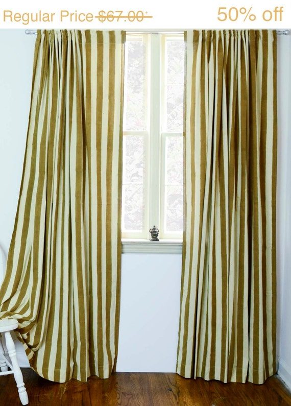 Curtain Decor Ideas For Living Room: Curtains Striped Curtain Gold Block Print Natural Dye By