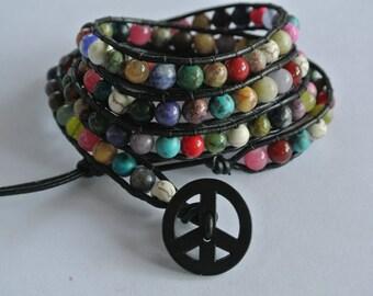 World Peace Gemstone Beaded Leather Wrap Bracelet