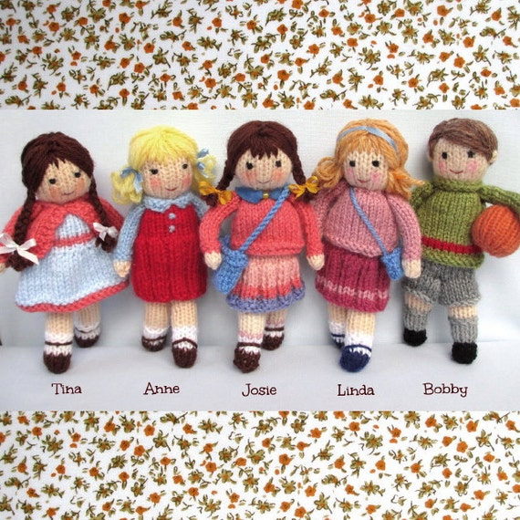 Little Friends in Autumn toy doll knitting pattern pdf