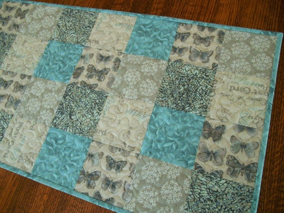 Quilted Table Runner with Butterflies in Aqua and Gray, Vintage Butterflies and Paris Post Cards, Cottage Chic, Quiltsy Handmade