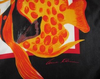 Vintage Anne Klein for Vera Companies Square Silk Scarf - Bright Orange Fish, Black Border - Goldfish - Large Square Scarf