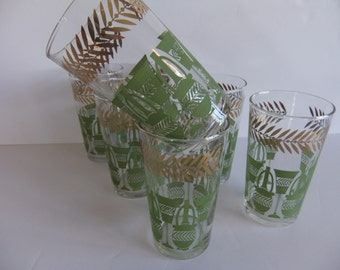 Vintage Retro Drinking glasses Green and Gold Federal Glasses