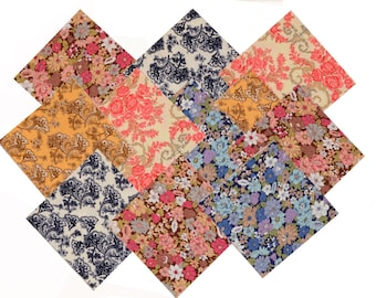 """Quilt 40 Charm Pack 5x5"""" Fabric square French Vintage Retro Floral Multi-Colored"""