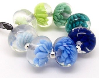 Blue Lampwork Bead Set, Flower  Lampwork Beads, Glass Beads, UK, FHFteam, SRA