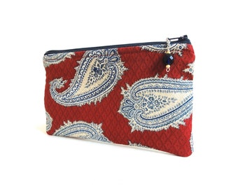 Paisley Zipper Pouch / Navy and Red Beaded Zipper Pull - READY TO SHIP