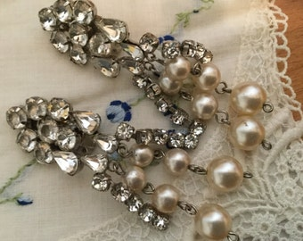 Old Stock SALE Vintage AUSTRIAN Crystal and Glass Pearl Wedding Bride Long EARRINGS Dangle Hollywood