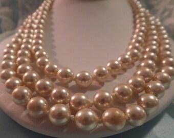 Jackie Kennedy Onassis Franklin Mint Triple Strand Pearls a Wedding Classic FREE Shipping