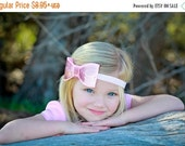 Pink Sequin Hair Bow, Large Pink Sequin Hair Bow Stretchy or Hard Headband or Hair Clip, Infant Baby Toddler Child Girls Headband