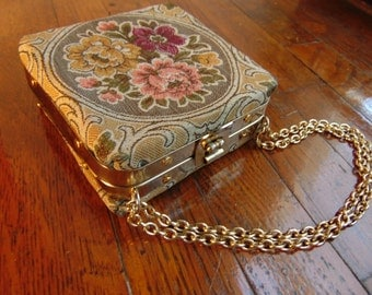 Vintage Tapestry Box Purse 1960s Made in Italy