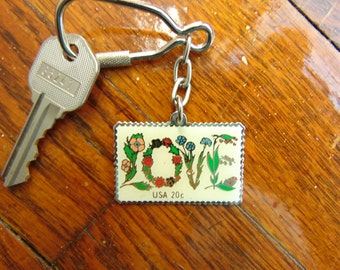 Vintage LOVE Postage Stamp Keychain Key Ring Fob 1982