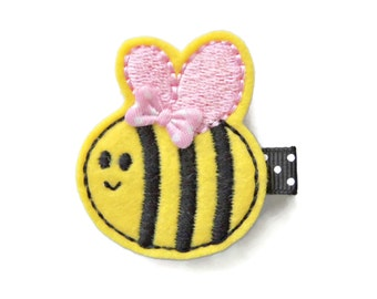 Bumblebee Hair Clip, Yellow And Black Bee Hair Clips, Hair Clips For Girls, Spring Hair Clips, Toddler Clips, Felt Bee Hair Clip,