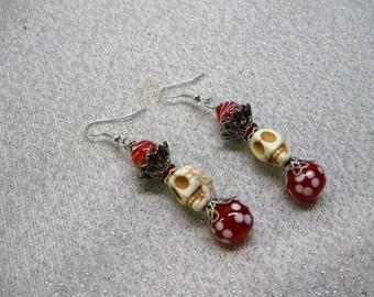 Dia de los Muertos Day of the Dead Sugar Skull Dangle Earrings