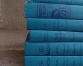 SALE SALE SALE Vintage Hardcover Book Set Six Instant Collection Blue Home Decor