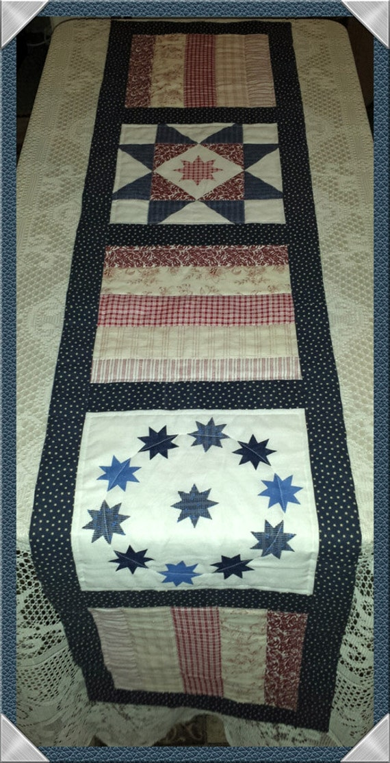 Americana Quilt Blocks, Quilted Table Runner