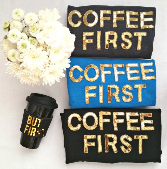 COFFEE FIRST sequin sweatshirt, crew neck, short sleeve, black, blue, gray