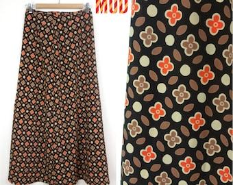 Cool Vintage 90s Brown & Orange Floral Lightweight Maxi Skirt!