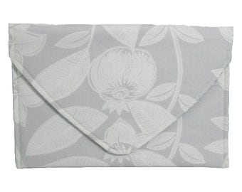Grey and White Envelope Clutch