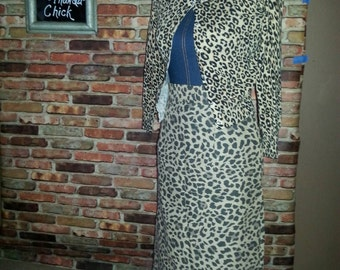 Rockabilly clothing/Leopard print pencil skirt and Vintage cardigan/womans clothing