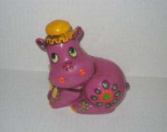 Vintage Purple Hippo Flower Power Bank