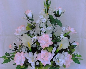 Pink Tip White Roses White Gladiolus Real touch, latex Calla Lily Silk Flower Floral Arrangement / Centerpiece