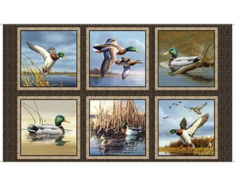 Quilting Treasures Fabric DUCK LAKE Ducks in Flight- panels