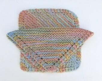 Set of Two (2) Knitted Cotton Dishcloths - Multi Pastels