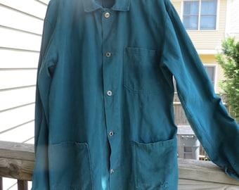 Stunning Teal French Work Jacket, Medium/Large
