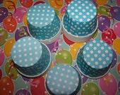 Treat/Portion Cups, Aqua/white Polka Dots, Party Cups, Cupcake Baking 12 Polka Dots Treat Cups