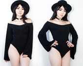 Bell Sleeve Off The Shoulder Black Bodysuit XS S M L XL