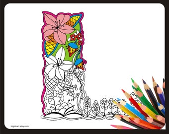 """Letter """"L"""" Lilly style alphabet  Adult coloring page"""