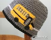 School Bus Hat, Bus Hat, Crochet Bus, Crochet Beanie, Boys, Girls, Men, Women, Holiday Gift, Bus Driver Gift, Bus Monitor Gift, Teacher Gift