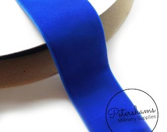 38mm Wide Velvet Ribbon for Millinery, Hat Trimming & Crafts 1 yard - Royal Blue Velvet